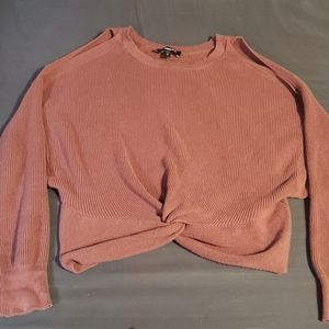 Express Cropped Cold Shoulder Sweater